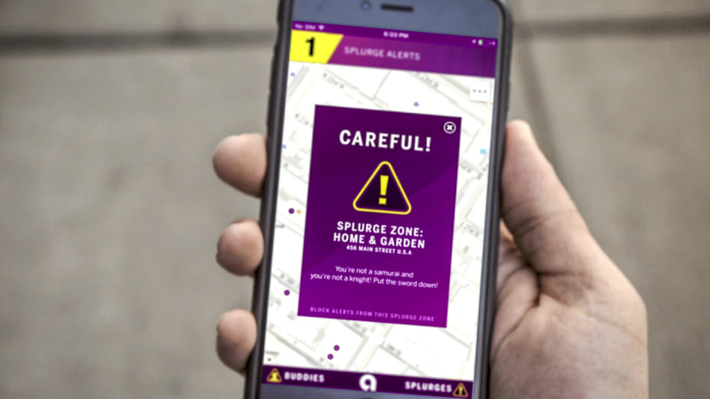 Ally's Splurge Alert app sends alerts when users get close to locations where they tend to overspend. (PRNewsFoto/Ally Financial)